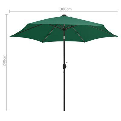 vidaXL Umbrelă de soare, LED-uri și stâlp aluminiu, verde, 300 cm