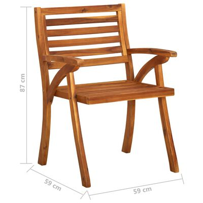 vidaXL Scaune de masă de grădină cu perne, 2 buc., lemn masiv acacia