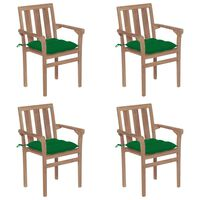 vidaXL Stackable Garden Chairs with Cushions 4 pcs Solid Teak Wood (2x43041+314876)