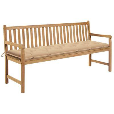 vidaXL Bancă de grădină cu pernă bej, 175 cm, lemn masiv tec