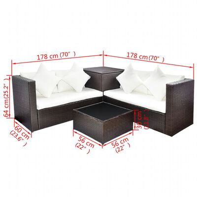 vidaXL Set mobilier de grădină cu perne, 4 piese, maro, poliratan