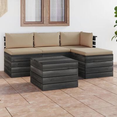 vidaXL Set mobilier grădină paleți cu perne, 5 piese, lemn masiv pin