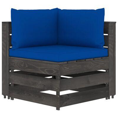 vidaXL Canapea de colț modulară cu perne, gri, lemn tratat