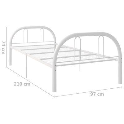 vidaXL Cadru de pat, alb, 90 x 200 cm, metal