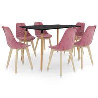 vidaXL Set de masă, 7 piese, roz