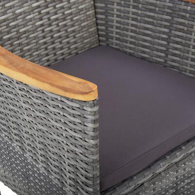vidaXL Set mobilier de grădină, 3 piese, gri, poliratan și lemn acacia