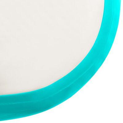 vidaXL Saltea gimnastică gonflabilă cu pompă verde 800x100x15 cm PVC