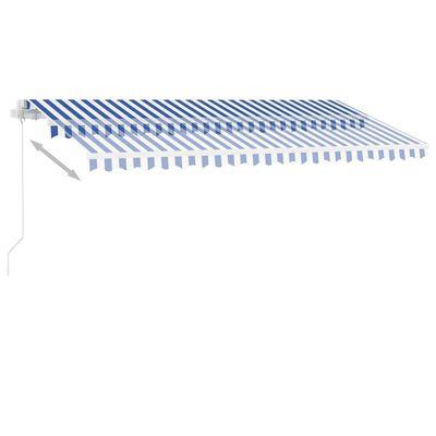 vidaXL Copertină retractabilă manual, albastru/alb, 400x300 cm