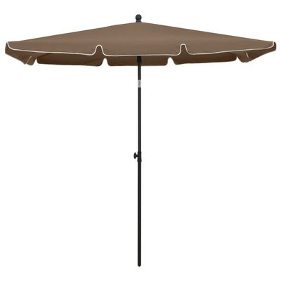 vidaXL Umbrelă de grădină cu stâlp, gri taupe, 210x140 cm