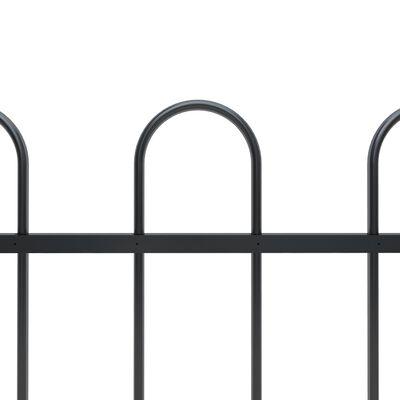 vidaXL Gard de grădină cu vârf curbat, negru, 3,4 x 1,2 m, oțel
