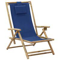 vidaXL Scaun rabatabil de relaxare, bleumarin, bambus & țesătură