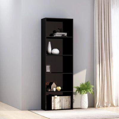 vidaXL Bibliotecă cu 5 rafturi, negru lucios, 60 x 30 x 189 cm, PAL