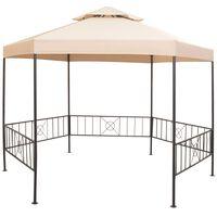 vidaXL Pavilion marchiză de grădină, cort, hexagonal, 323x265 cm, bej