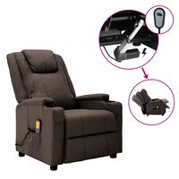 vidaXL Electric Massage Reclining Chair Brown Faux Leather (321313+327254)
