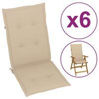 vidaXL Perne scaun de grădină, 6 buc., bej, 120 x 50 x 4 cm