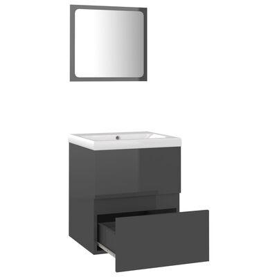 vidaXL Set mobilier de baie, gri extralucios, PAL
