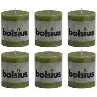 Bolsius Lumânări bloc rustice, 6 buc., oliv, 80 x 68 mm