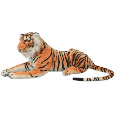 vidaXL Tigru de jucărie din pluș, maro, XXL