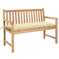 vidaXL Bancă de grădină cu pernă alb crem, 120 cm, lemn masiv tec