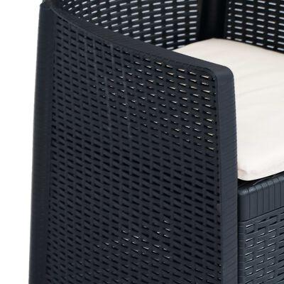 vidaXL Set mobilier exterior 7 piese antracit plastic aspect ratan