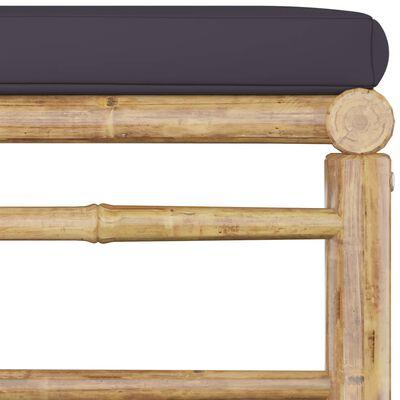 vidaXL Set mobilier de grădină, 7 piese, cu perne gri închis, bambus