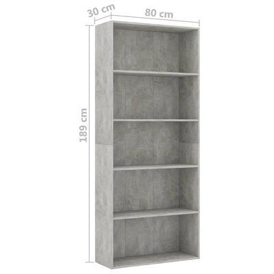 vidaXL Bibliotecă cu 5 rafturi, gri beton, 80 x 30 x 189 cm, PAL