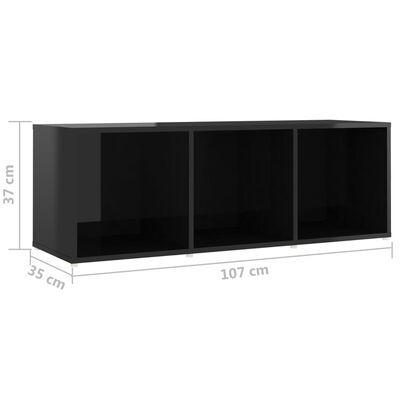 vidaXL Set de dulapuri TV, 3 piese, negru extralucios, PAL
