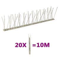 vidaXL Set bandă cu țepi antipăsări cu 2 rânduri, 20 buc., oțel, 10 m