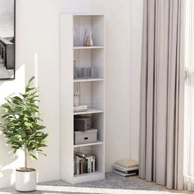 vidaXL Bibliotecă cu 5 rafturi, alb lucios, 40 x 24 x 175 cm, PAL