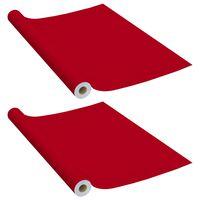 vidaXL Folii de mobilier autoadezive, 2 buc., roșu, 500 x 90 cm, PVC