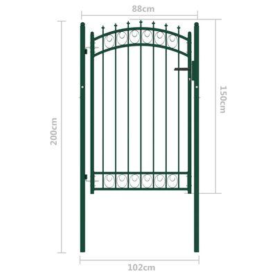 vidaXL Poartă de gard cu țepușe, verde, 100x150 cm, oțel