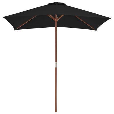vidaXL Umbrelă de soare, exterior, stâlp lemn, negru, 150x200 cm