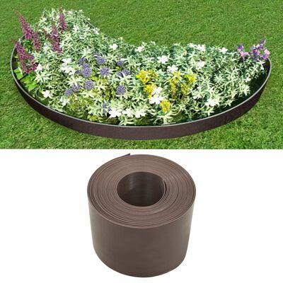 vidaXL Bordură de grădină, maro, 10 m, 20 cm, PE