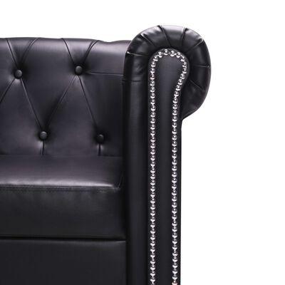 vidaXL Canapea Chesterfield în formă de L, piele artificială, negru