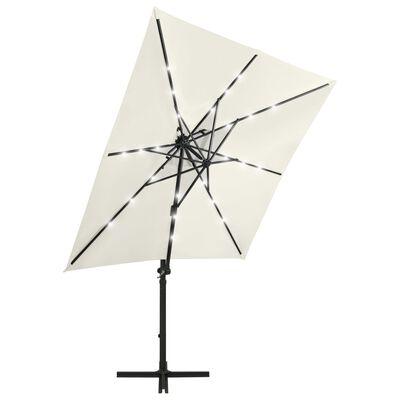 vidaXL Umbrelă suspendată cu stâlp și LED-uri, nisipiu, 250 cm