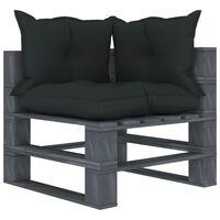 vidaXL Canapea de grădină de colț din paleți cu perne antracit, lemn