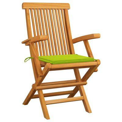 vidaXL Scaune de grădină cu perne, 6 buc., verde, lemn masiv de tec