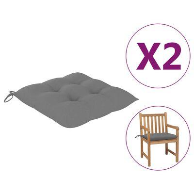 vidaXL Perne de scaun, 2 buc., gri, 50 x 50 x 7 cm, textil