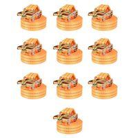 vidaXL Chingi fixare cu clichet, 10 buc, 1 tonă, 6mx38 mm, portocaliu