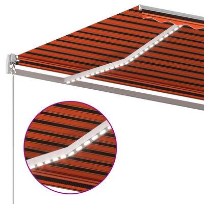 vidaXL Copertină automată senzor vânt&LED, portocaliu&maro, 400x300 cm