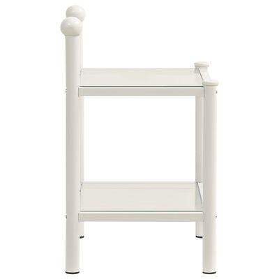 vidaXL Noptieră, alb și transparent, 45x34,5x60,5 cm, metal și sticlă
