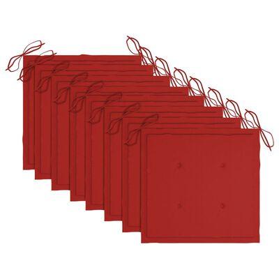 vidaXL Scaune de grădină cu perne roșii, 8 buc., lemn masiv de tec