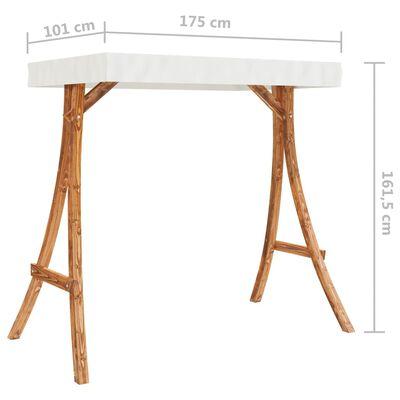 vidaXL Cadru balansoar cu acoperiș crem, lemn masiv curbat finisaj tec