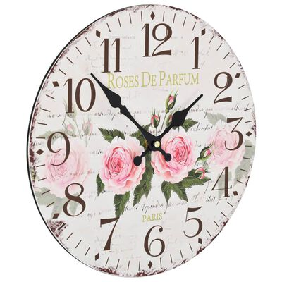 vidaXL Ceas de perete vintage, 30 cm, floare