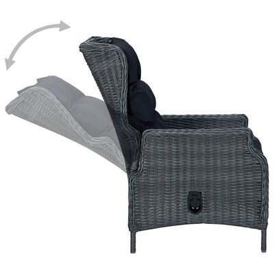 vidaXL Set mobilier exterior cu perne, 9 piese, gri închis, poliratan