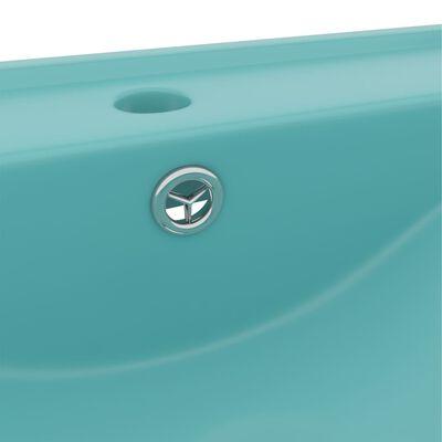 vidaXL Chiuvetă baie lux, orificiu robinet 60x46 cm verde mat ceramică