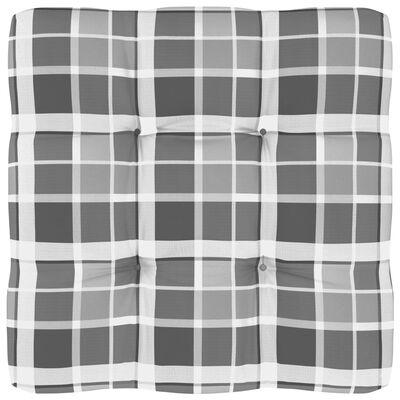 vidaXL Pernă pentru canapea din paleți, gri, 58x58x10cm, model carouri
