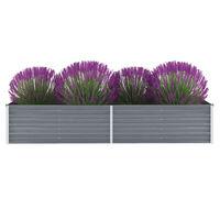 vidaXL Strat înălțat de grădină, gri, 240x80x45 cm, oțel galvanizat