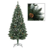 vidaXL Brad de Crăciun artificial cu conuri pin și sclipici alb 180 cm