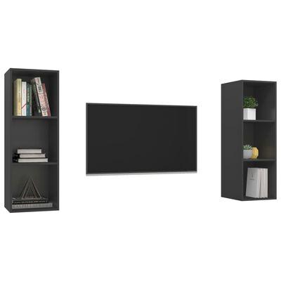 vidaXL Dulapuri TV montaj pe perete, 2 buc., gri, PAL